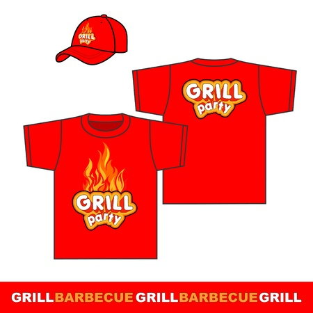 Grill set shirt and cap Vector