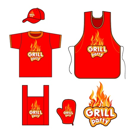 Grill set design  Vector