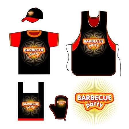 hot dog label: Barbecuel set design
