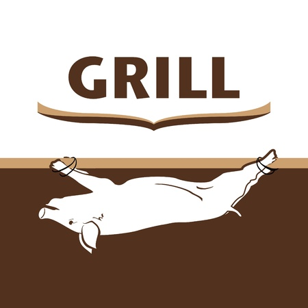Barbecue and grill label design pig  Ilustracja