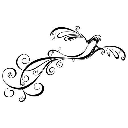 ave fenix: Silueta del pájaro Ilustración aislada fénix