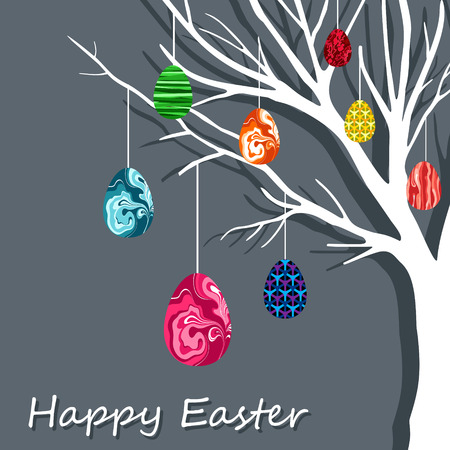 easter tree: Easter tree with eggs  Illustration