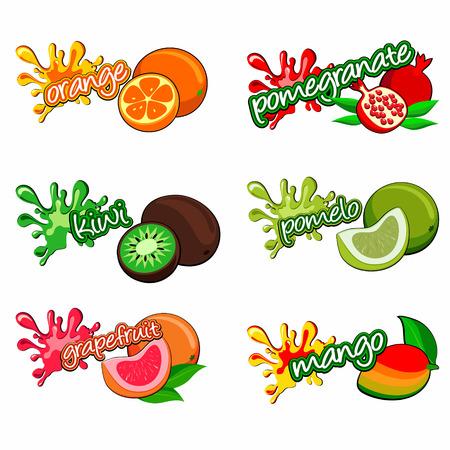 jugo de frutas: frutas etiqueta Vectores