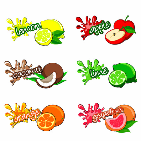 fruit labels in fresh colours Vector