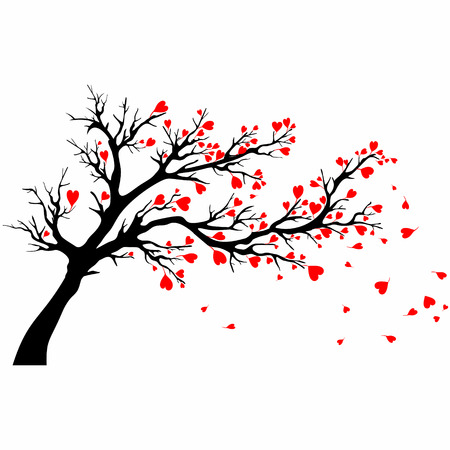 Valentine tree with branches in the wind
