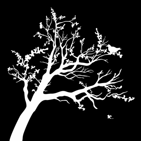heartily: vector tree with branches in the wind