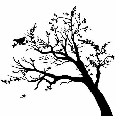 heartily: vector tree with branches in the wind                     Illustration