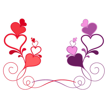Valentines composition of the hearts   Illustration