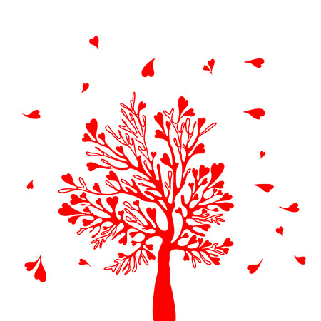 esp card: Valentine tree with branches in the wind