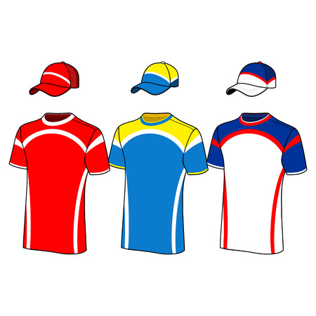 sleeved: T-shirt sport designs and baseball cap