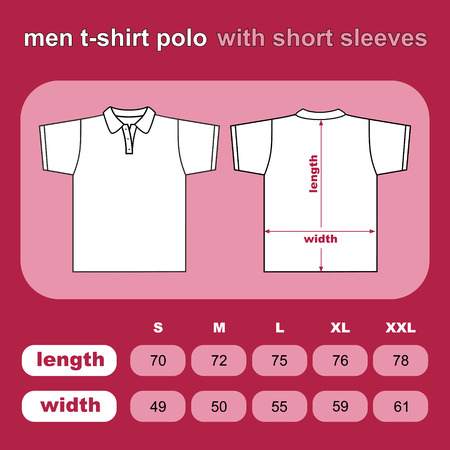 T-shirt men polo back and front  Vector