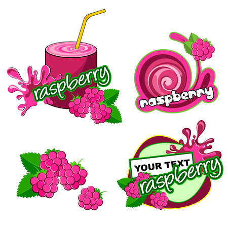 rasberry: Set of labels with raspberry  Vector raspberry