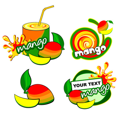 mangoes: Fruit set for label  Vector mango