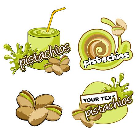 pistachios: Fruit labels design. Vector pistachios. Illustration