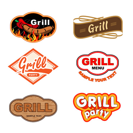 fried food: Set of labels with grill and Barbecue Illustration