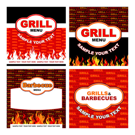 barbecues: grill and barbecues labels Illustration