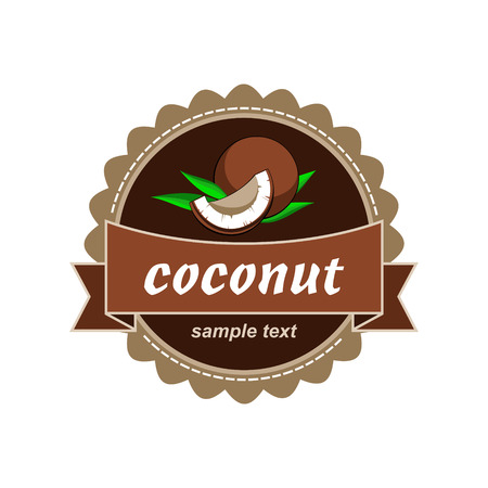Coconut fresh labels. Vector