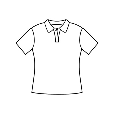 table sizes: Illustration of woman shirt design.