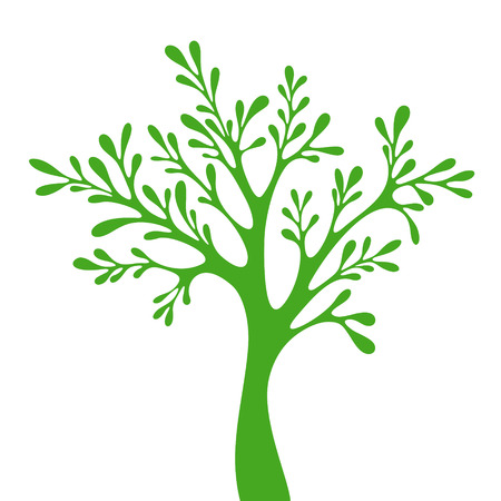 deciduous: Tree silhouette isolated on white background  Illustration