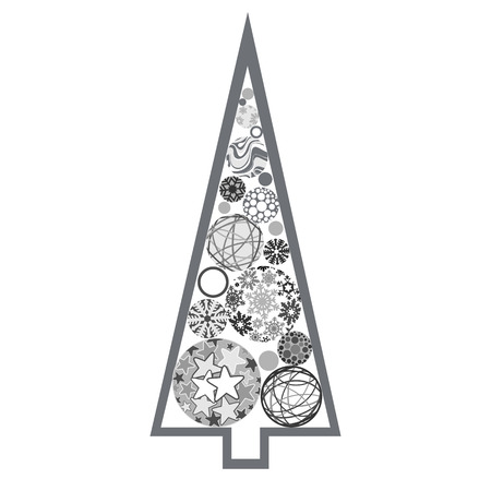 bareness: Silver Christmas tree made of various balls Illustration