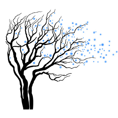 tree with leaves full of snowflakes in wind Vector