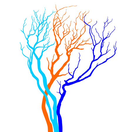 Vector colorful silhouette of a tree