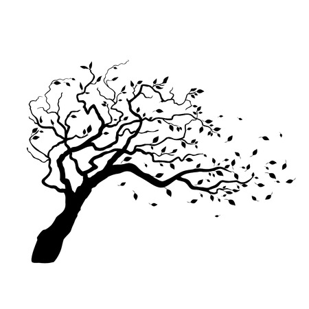 winter tree silhouette: Tree in the wind with flying leaves Illustration