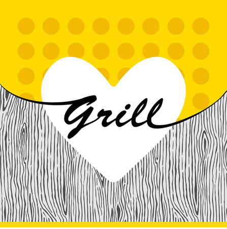 Grill heart on yellow wooden background Vector