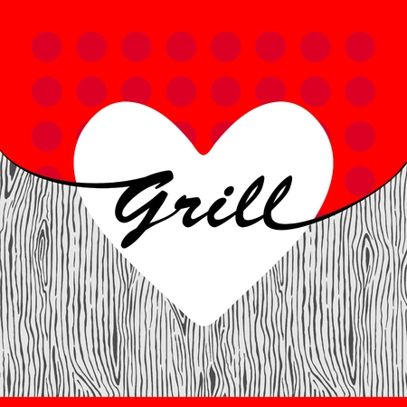 dinner party table: Vector grill heart on wooden texture Illustration