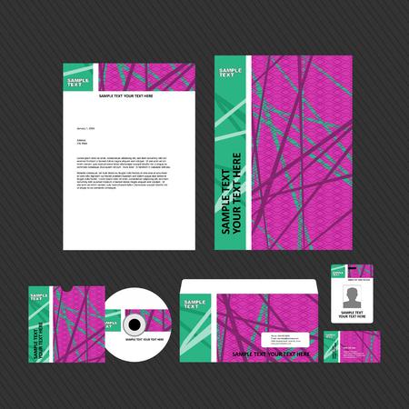 green and purple business template on dark background. Vector illustration. 일러스트