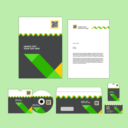 black, white, yellow and green business template. Vector illustration.