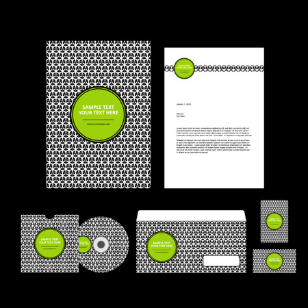 black and white business template on black background. Vector illustration. 일러스트