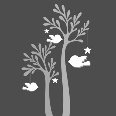 Vector tree with little birds on dark background 일러스트