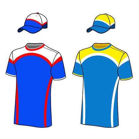 T-shirt sport designs and baseball cap 일러스트
