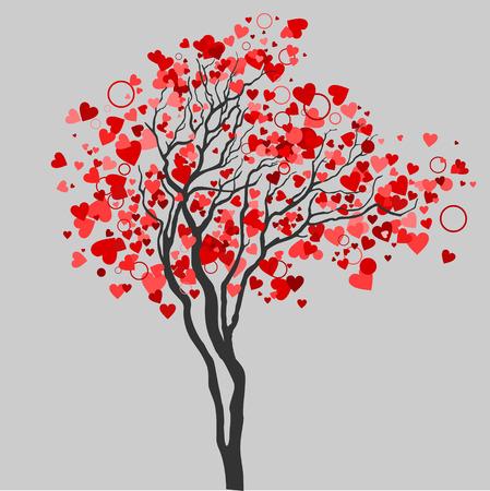 Amor árbol con hojas de corazón
