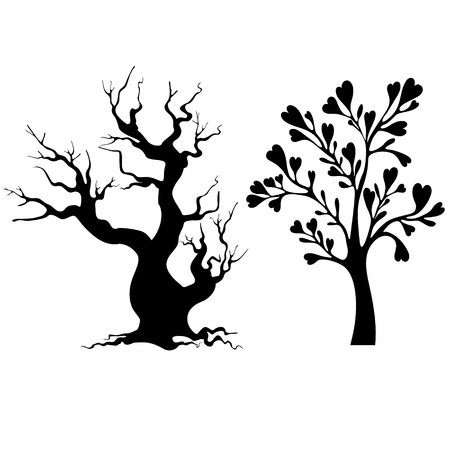 Vector Trees Silhouette Isolated On White background.
