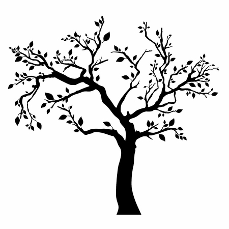 Tree silhouette isolated on white background. 일러스트