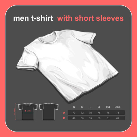 size: Realistic tshirt mockup with size chart