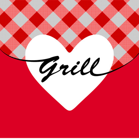 haunch: White grill heart on red striped background with flames Illustration