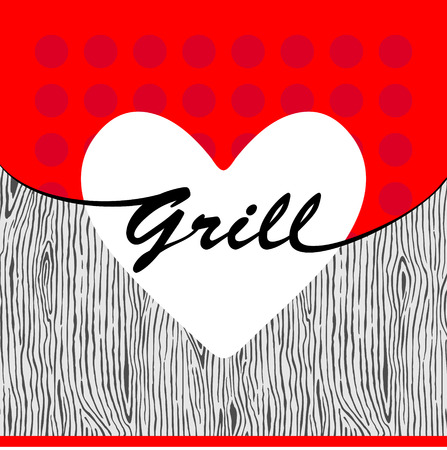 wood: Vector grill heart on wooden texture Illustration
