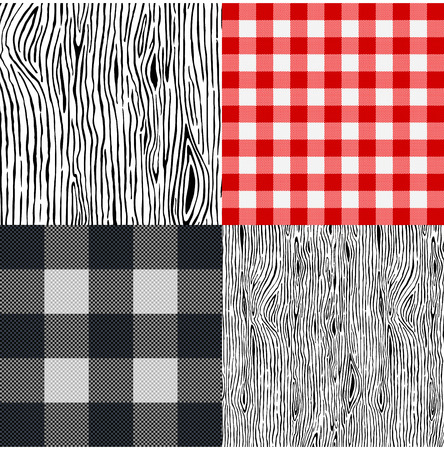 Set of various tablecloth and wooden backgrounds. Vector