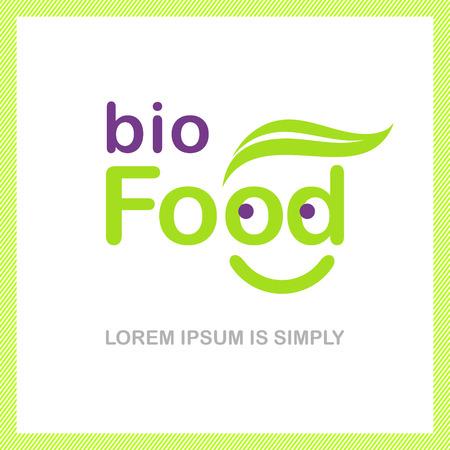 logo de comida: Bio símbolo de la comida con una sonrisa en el interior Vectores
