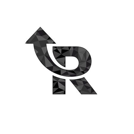 Letter R logo design with arrow symbol