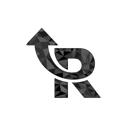 Letter R logo design with arrow symbol