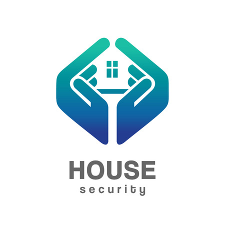 home construction: House security services logo Illustration