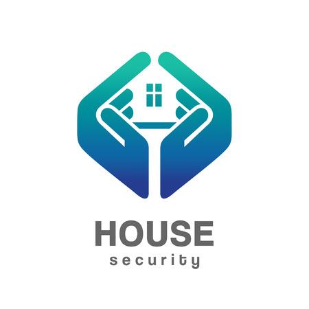 logo batiment: Maison services de sécurité logo Illustration