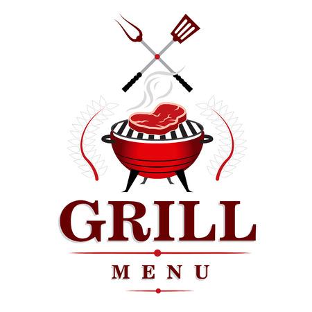 roast meat: BBQ and grill menu design. illustration.