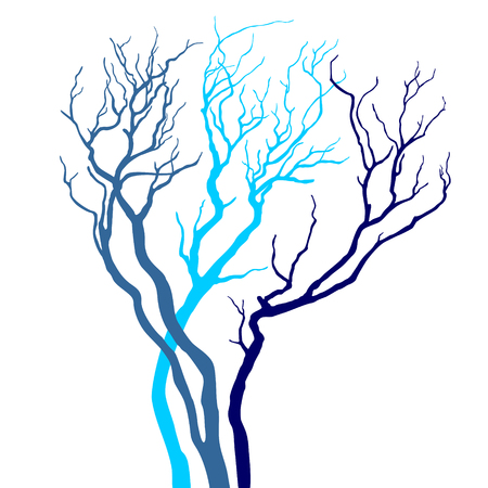 tree silhouette: Tree Silhouette Isolated on White  Background . Illustration