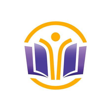 教育: 教育標誌的概念。開放教育為大家標誌的概念。 向量圖像