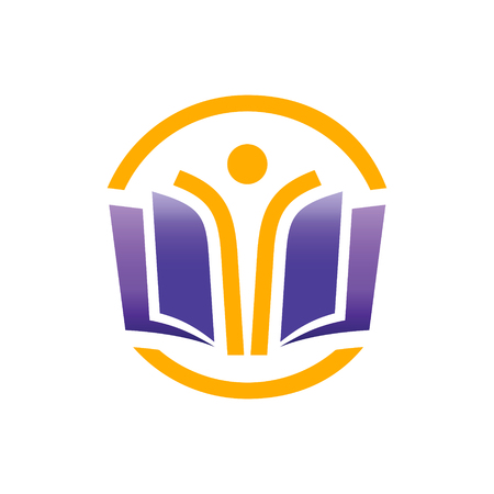 oktatás: Oktatási logo fogalom. Nyílt oktatás mindenki számára logo fogalom.